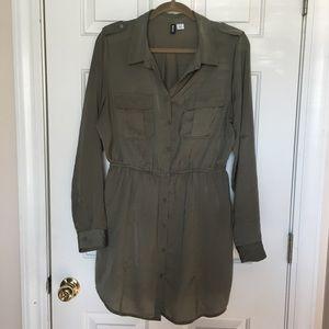 BDG • Hunter Green Button Down Shirt Dress Large